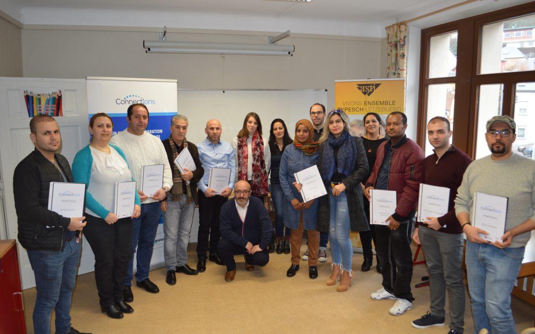 Remise de certificats au du 4ème groupe de réfugiés  du projet « Connections »