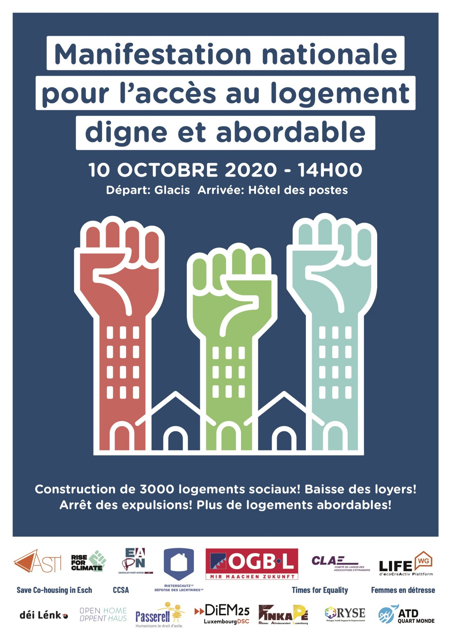 Affiche manifestation nationale logement